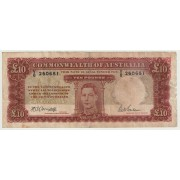1943 Ten Pound George V1 Banknote - Fine