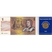 1984 Australian First Dollar Coin & Last Dollar Banknote Folder