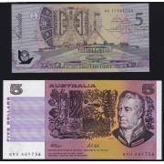 1991/92 $5 Last Paper Printing & First Polymer Printing Banknotes