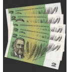 1966 Commonwealth of Australia Five Consecutive Uncirculated Two Dollar Banknotes