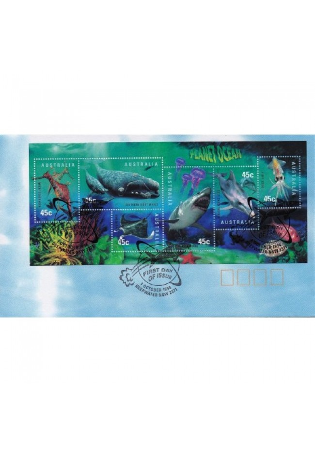 1998 Planet Ocean Mini Sheet FDC