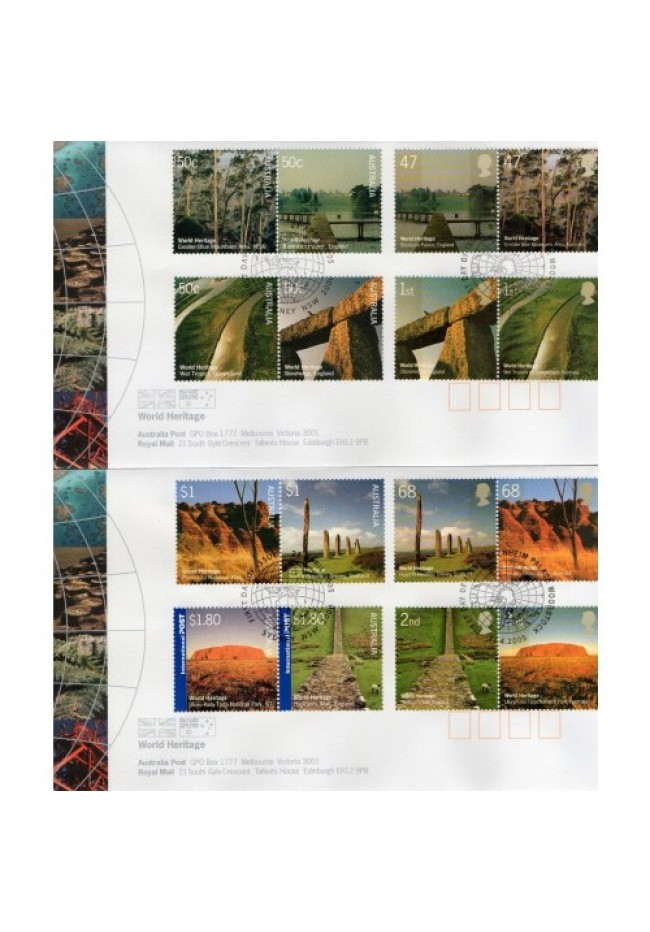 2005 Australia & UK Joint Issue - World Heritage Sites FDC's