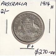 1914 H Australian Florin - F+