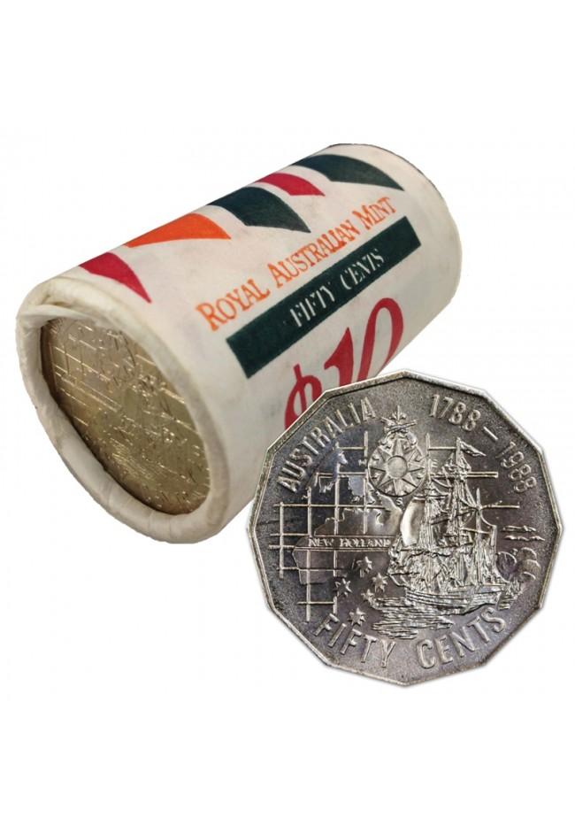 1988 Australian 50 Cent Mint Roll - Bicentenary