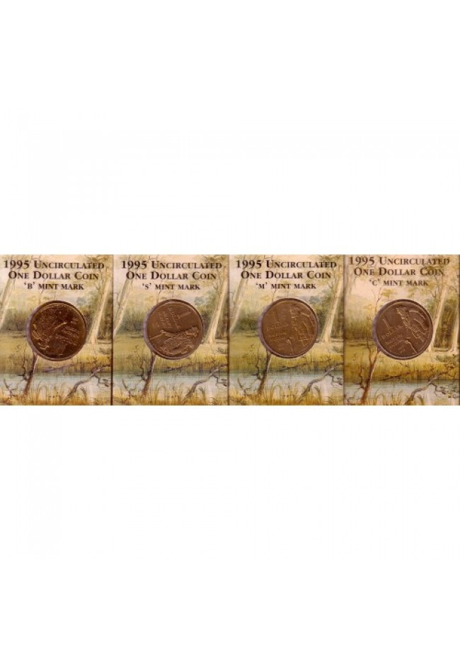 "1995 Waltzing Matilda $1 Coins Set of 4 ""C, B, M & S"" Mintmarks"