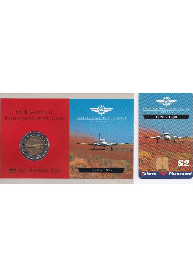 1998 70 Years of the Royal Flying Doctors $5 Coin & $2 Phonecard