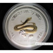 2001 1oz Lunar Silver Gilded Year of the Snake Coin
