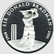 2001 Five Dollar Silver Proof Coin - Sir Donald Bradman 1908 - 2001