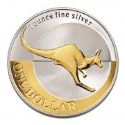 2004 1oz Silver Kangaroo Selectively Gold Plated Proof Coin