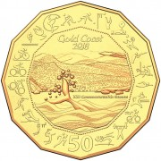 2018 Gold Coast Commonwealth Games 50c Gold Plated Coin