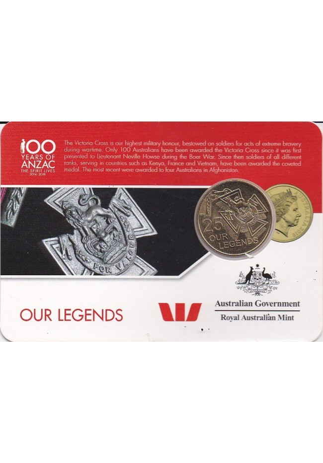 2016 100 Years of Anzac 25 Cent Uncirculated Coin - Our Legends
