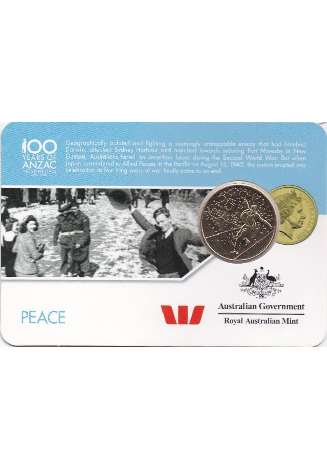 2016 100 Years of Anzac 25 Cent Uncirculated Coin - Peace
