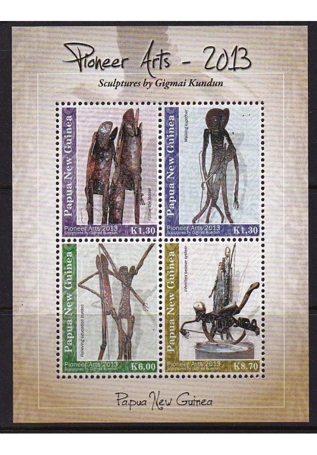 2013 Papua New Guinea Pioneer Art Sheetlet of 4