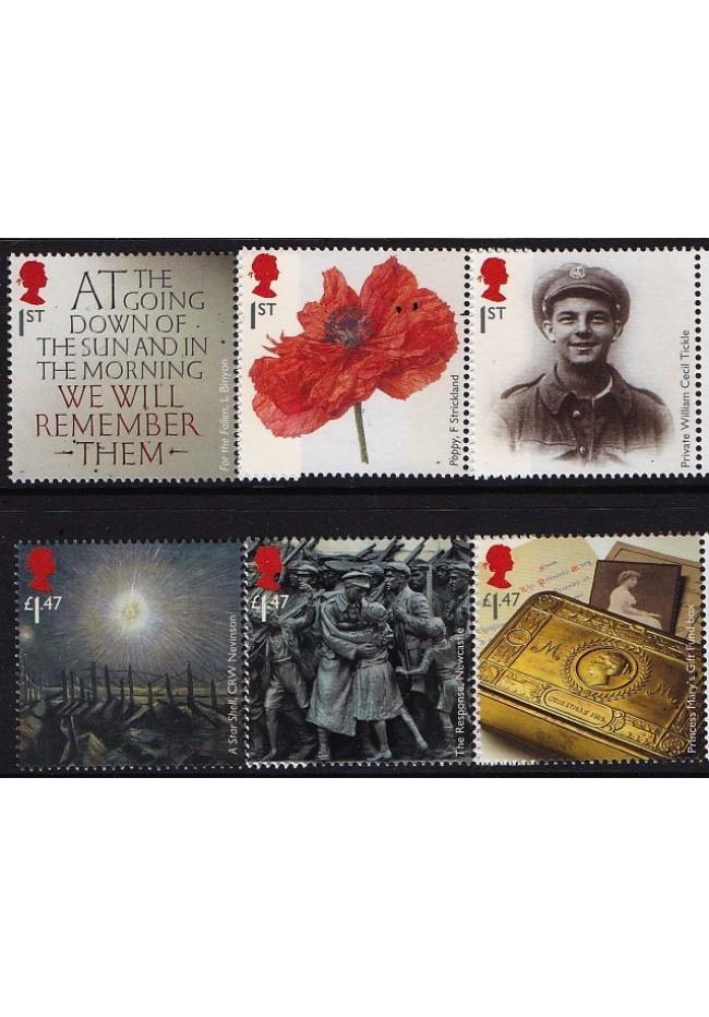 2016 GB - The Great War set of 6 MUH