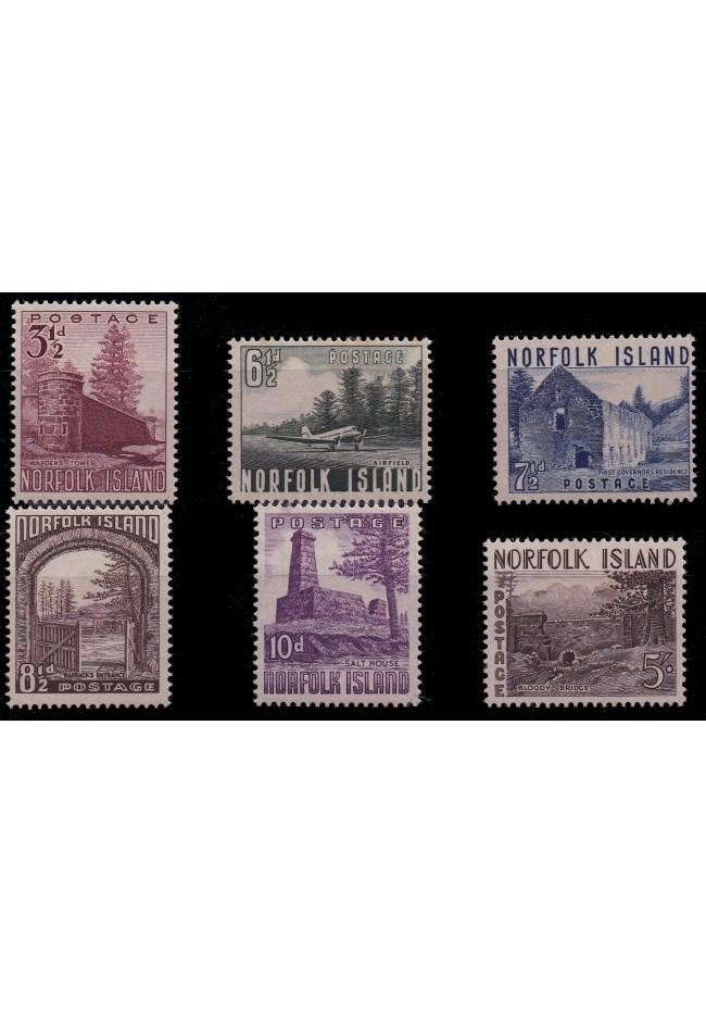1953 Norfolk Island Definitive Stamp Issue MLH - Set of 6