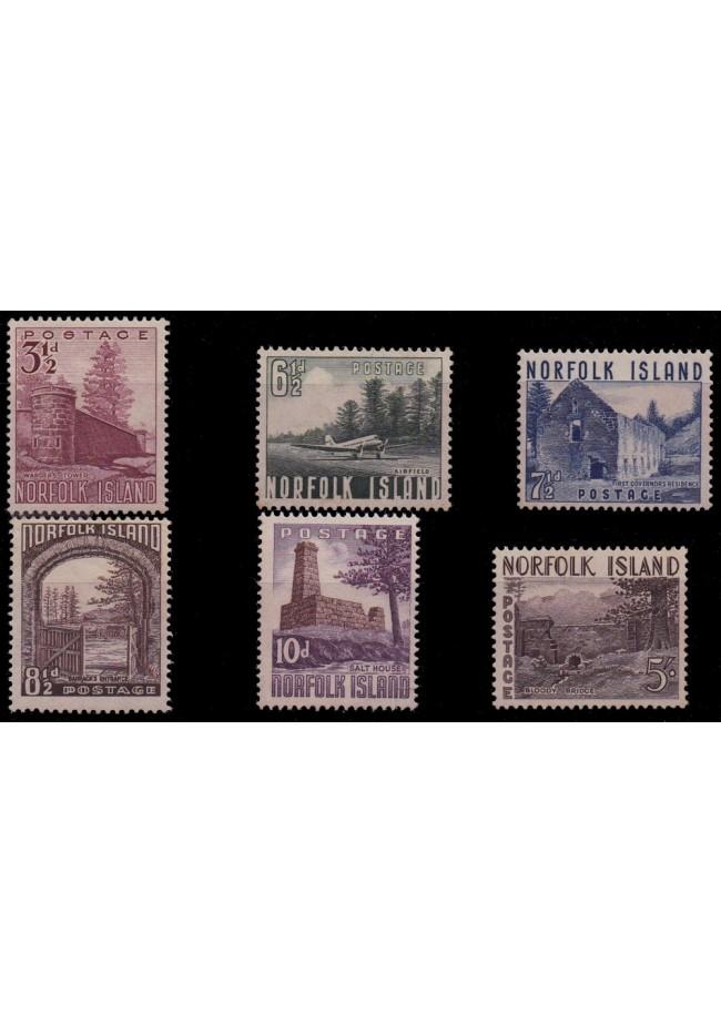 1953 Norfolk Island Definitive Stamp Issue - Set of 6 MUH
