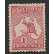 1913 Australian Kangaroo & Map Stamp - 1 Penny Red Fine Used