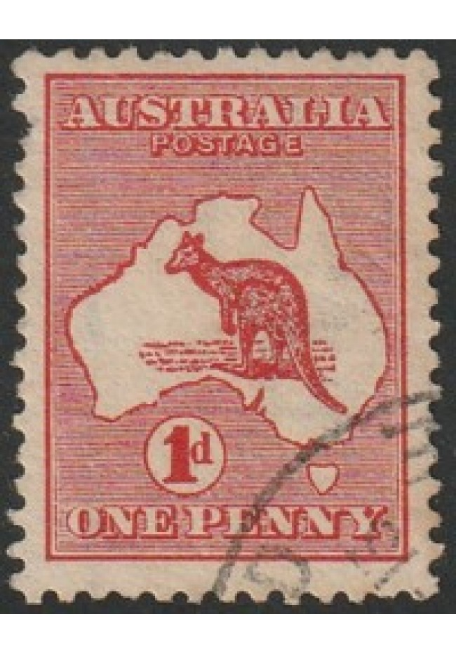 1913 Australian Kangaroo & Map Stamp - 1 Penny Red Very Fine Used