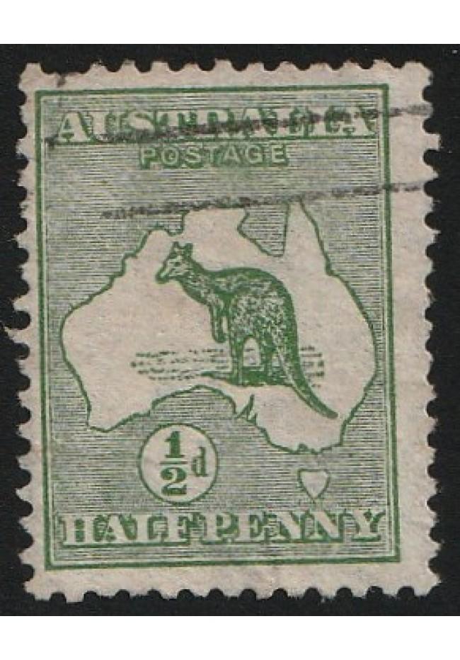 1913 Halfpenny Kangaroo & Map used stamp - inverted watermark